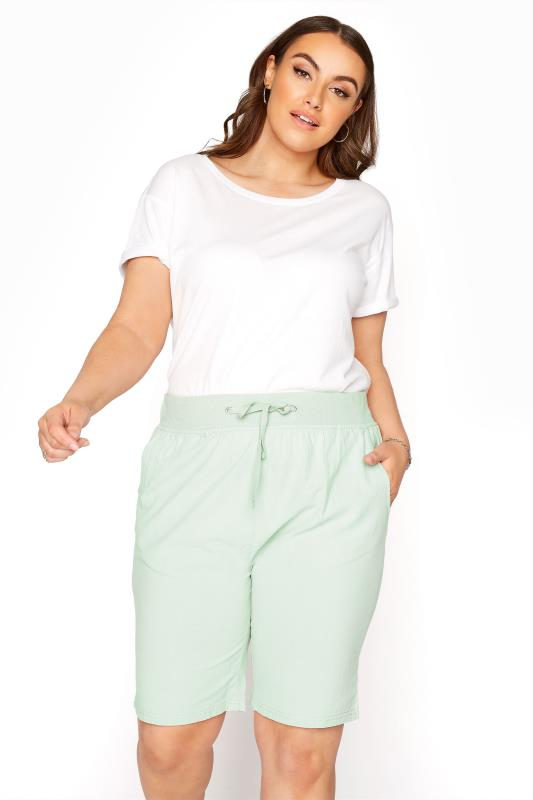 Plus Size  Mint Green Cool Cotton Shorts