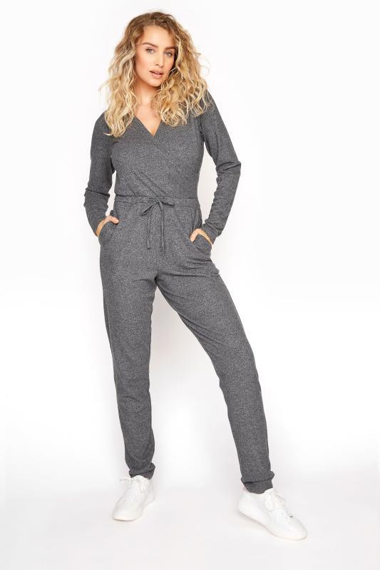 Tall  Grey Soft Wrap Jumpsuit