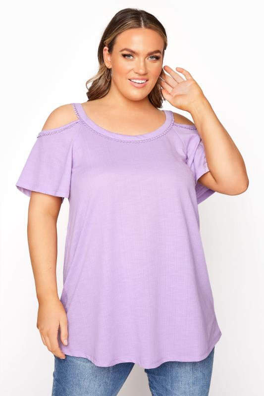 Lilac Cold Shoulder Strap T-Shirt_A.jpg