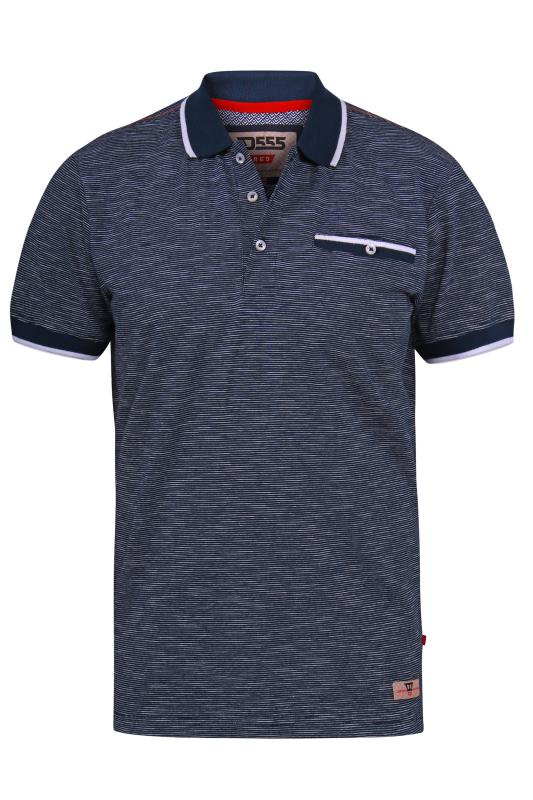 D555 Navy Fine Stripe Tipped Polo Shirt
