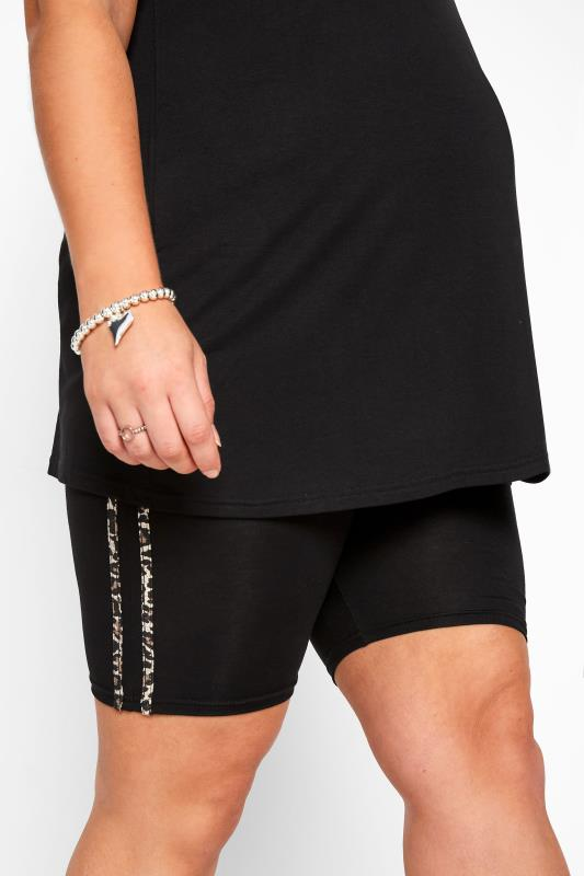 BUMP IT UP MATERNITY Black Leopard Print Tape Cycling Shorts