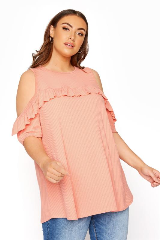 Plus Size  LIMITED COLLECTION Peach Cold Shoulder Ribbed Swing Top