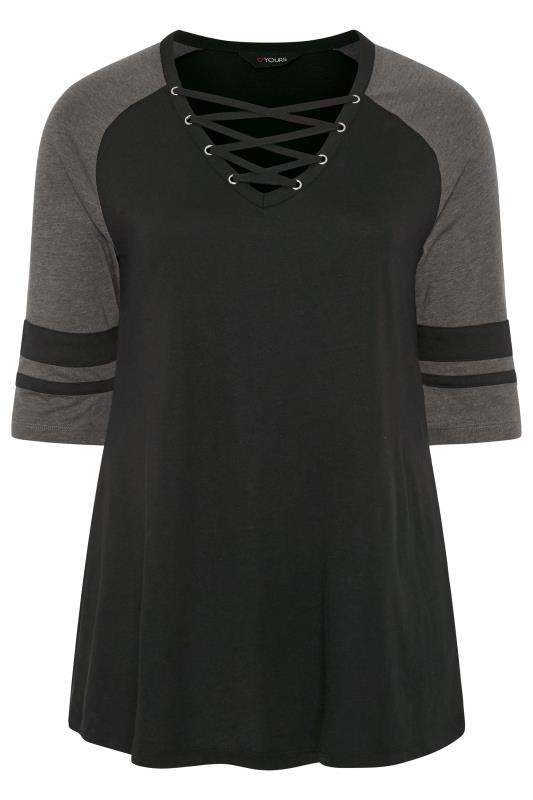 Black & Grey Lattice Front Varsity Top