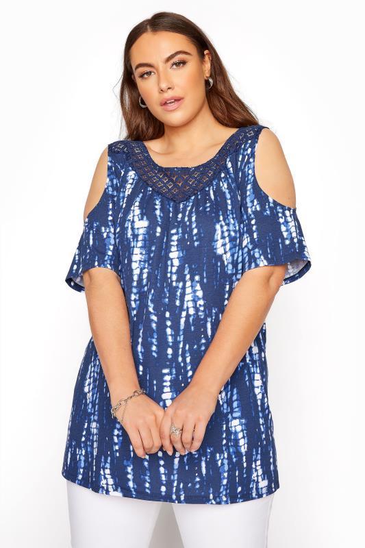 Blue Tie Dye Lace Yoke Cold Shoulder Top
