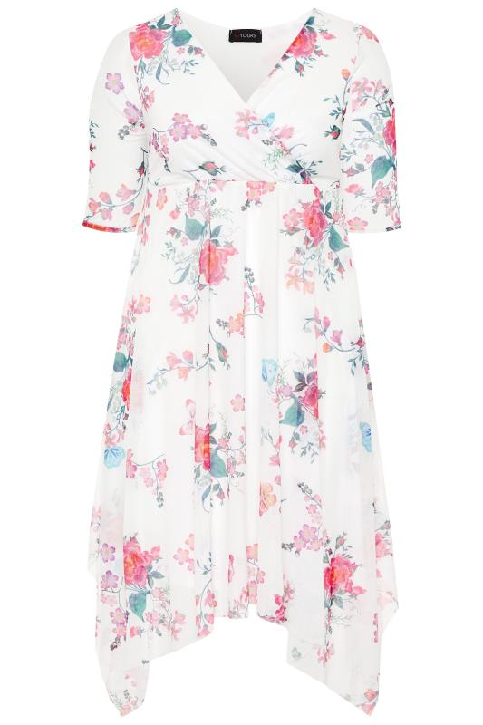 White Floral Butterfly Mesh Wrap Dress