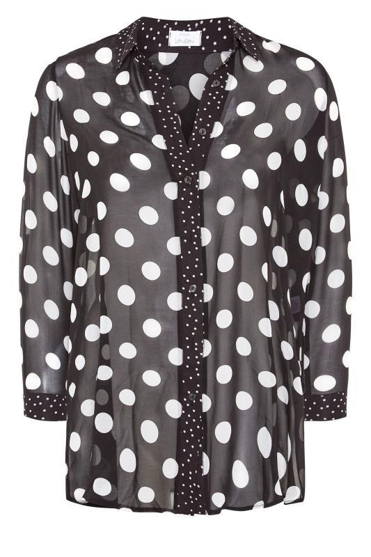 YOURS LONDON Black Polka Dot Boyfriend Shirt_F.jpg