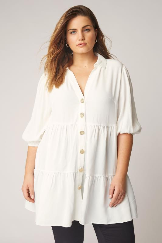 Plus Size  THE LIMITED EDIT White Tiered Smock Tunic Top
