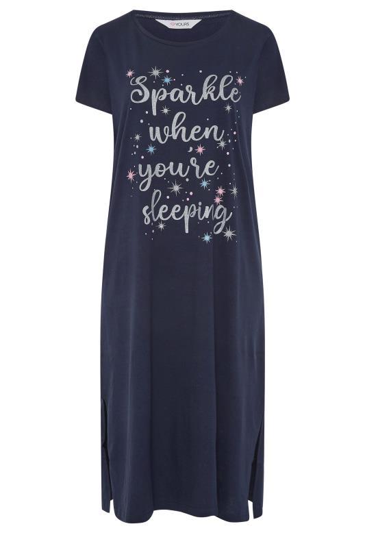 Navy 'Sparkle When You're Sleeping' Slogan Cotton Nightdress_F.jpg