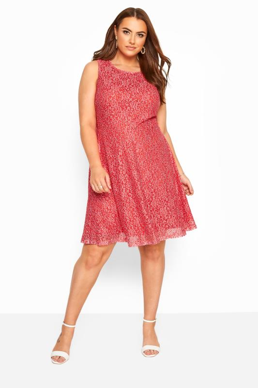 YOURS LONDON Red Floral Lace Skater Dress