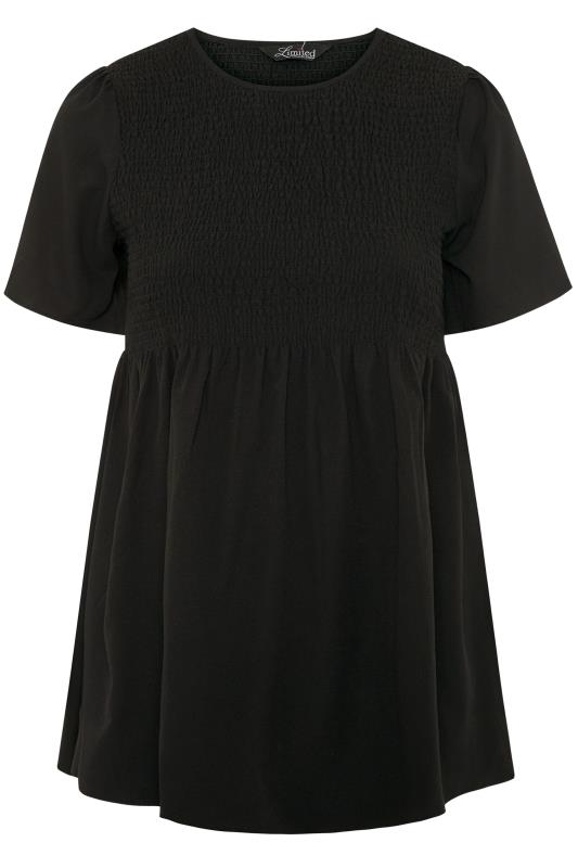LIMITED COLLECTION Black Shirred Smock Top