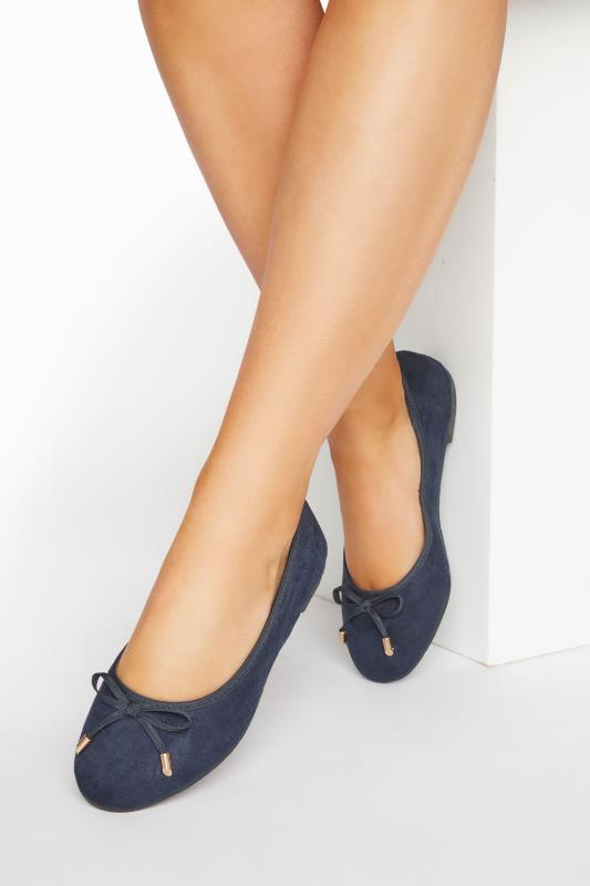 Wide Fit Flat Shoes Navy Ballerina Pumps In Extra Wide Fit