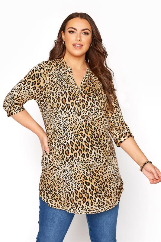 Plus Size  Brown Leopard Grandad Collar Jersey Overhead Shirt