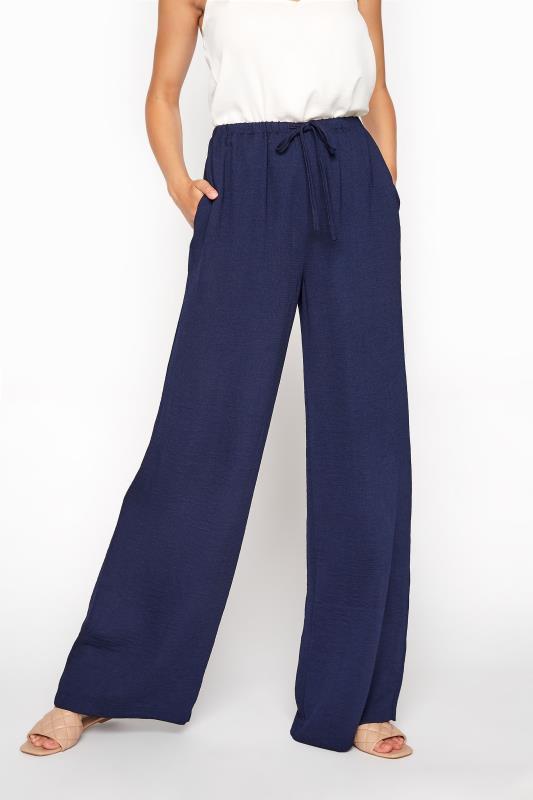 LTS Navy Wide Leg Twill Trousers