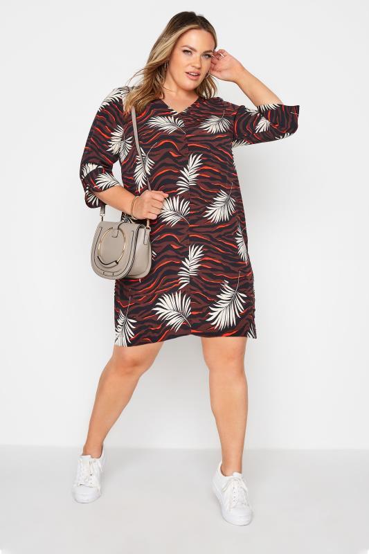Brown Tropical V-Neck Shift Dress_B.jpg