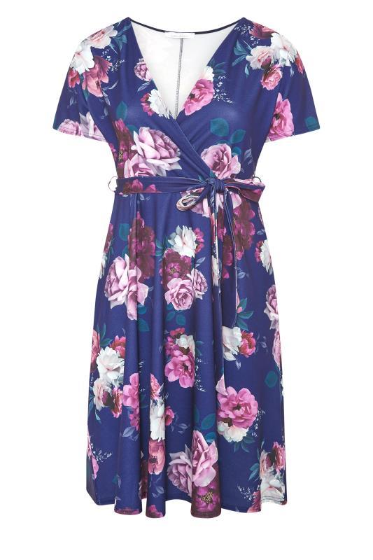 YOURS LONDON Blue Floral Rose Skater Dress_F.jpg
