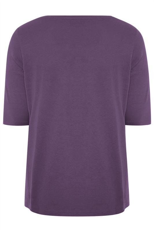 Purple V-Neck Cotton Top
