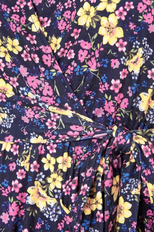 YOURS LONDON Navy Floral Wrap Midi Dress_S.jpg