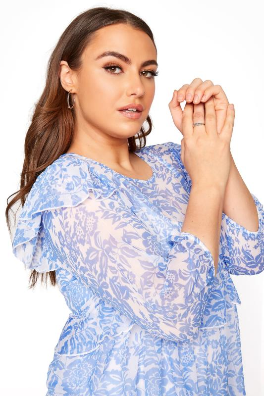 LIMITED COLLECTION Light Blue Frill Floral Blouse_D.jpg