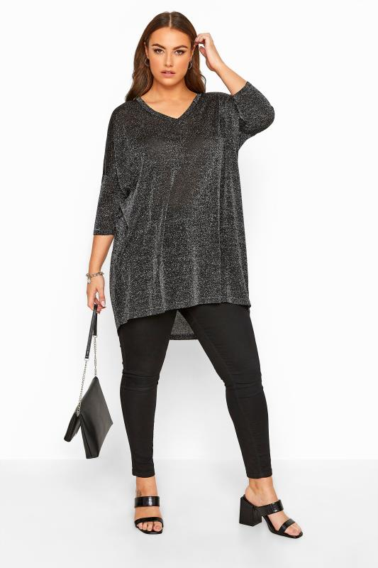Plus Size Jumpers Silver Metallic Dipped Hem Knitted Top