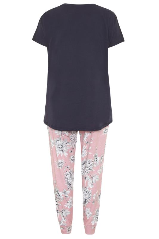 Navy Blue Summer Floral Pyjama Set_BK.jpg