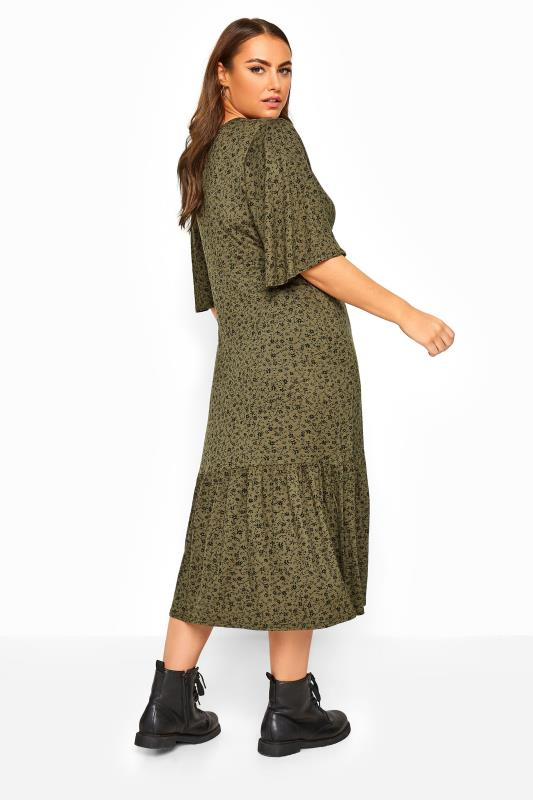 LIMITED COLLECTION Khaki Floral Frill Hem Wrap Dress