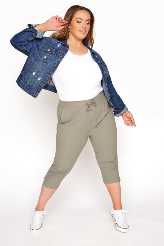 Plus Size  Khaki Cool Cotton Cropped Joggers