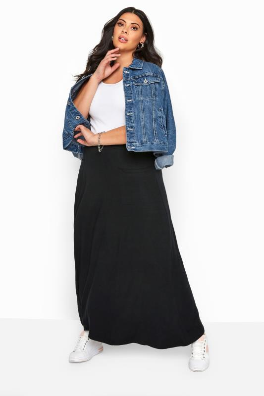 Maxi Skirts Grande Taille Black Maxi Jersey Skirt