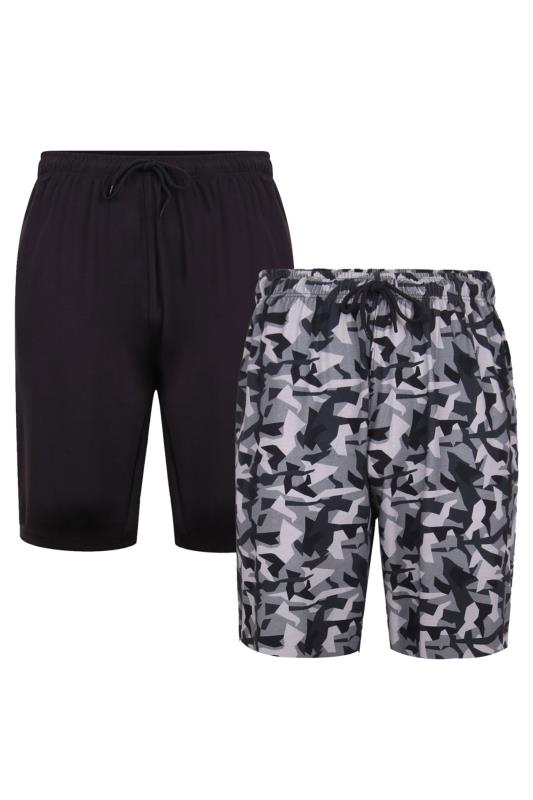 Tallas Grandes KAM 2 PACK Black & Camo Lounge Shorts