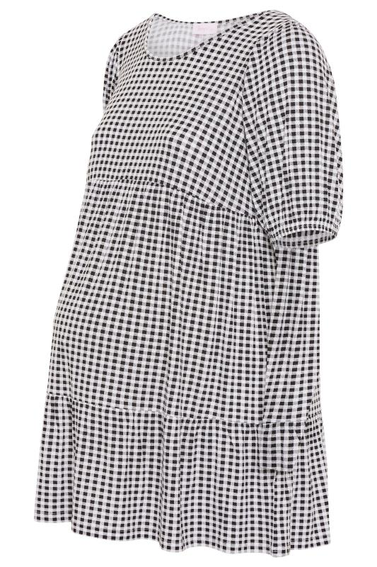 BUMP IT UP MATERNITY Black Gingham Tiered Smock Top_S.jpg