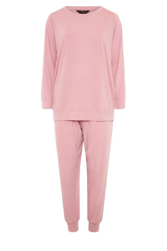 Plus Size  Pink Glitter Soft Touch Lounge Set