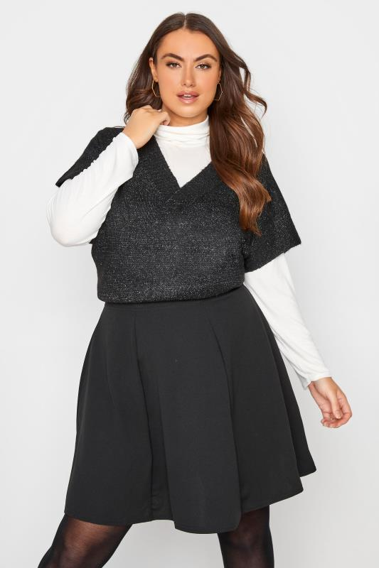 Plus Size  LIMITED COLLECTION Black Scuba Skater Skirt
