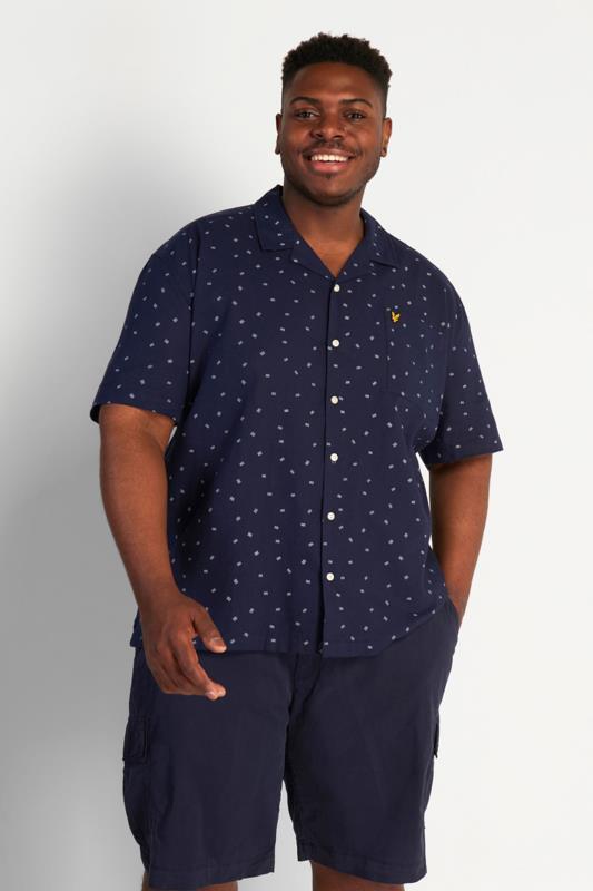 Plus Size  LYLE & SCOTT Navy Printed Short Sleeve Shirt
