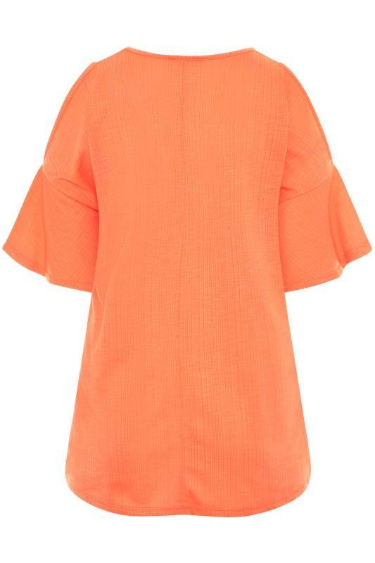 Bright Coral Cold Shoulder T-Shirt_BK.jpg