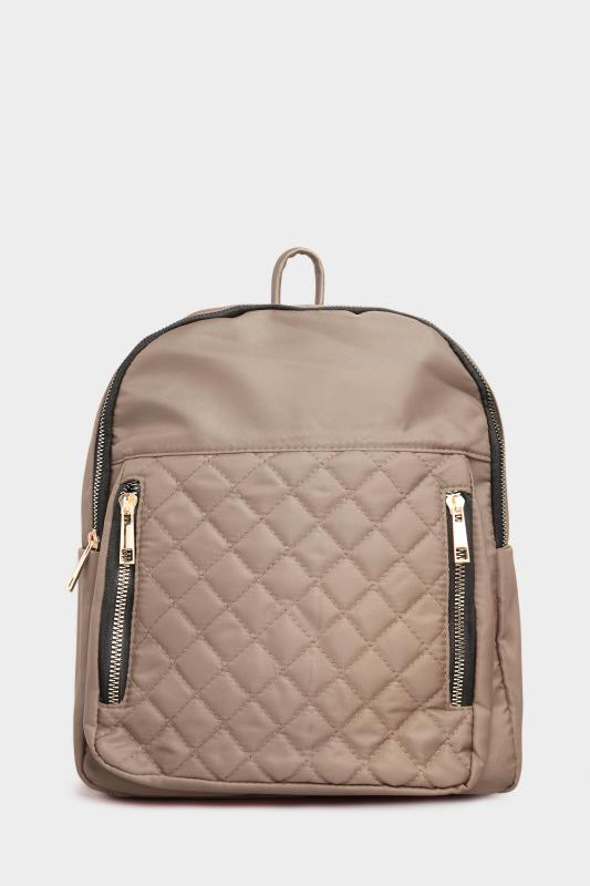 Beige Quilted Backpack