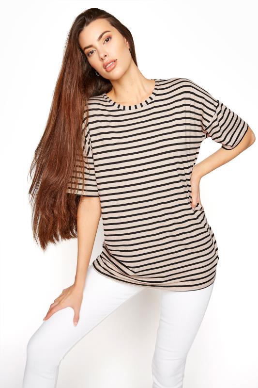 LTS Beige Stripe Oversized T-Shirt