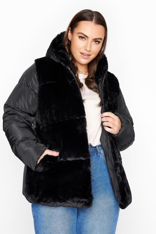 Plus Size  Black Faux Fur Padded Jacket