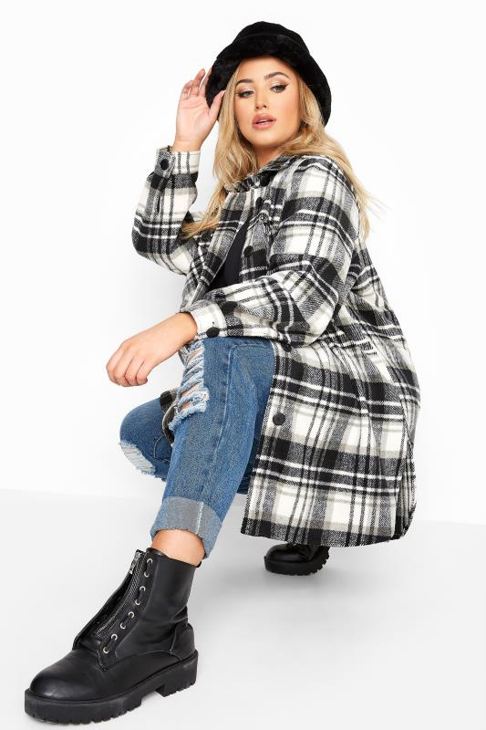 Plus Size  Black & White Check Shacket