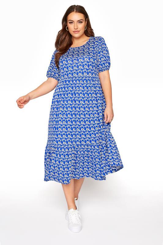 Plus Size  Blue Floral Peplum Midaxi Dress