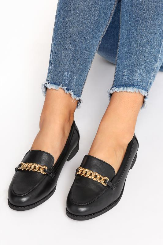 Plus Size  Black Chain Loafers In Extra Wide Fit