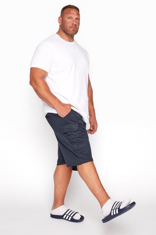 Plus Size  BadRhino Navy Essential Cargo Jogger Shorts