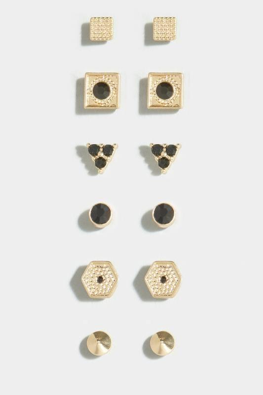 6 PACK Gold & Black Stud Earrings