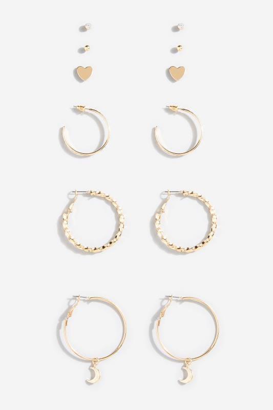 6 PACK Gold Hoop & Stud Earrings Set