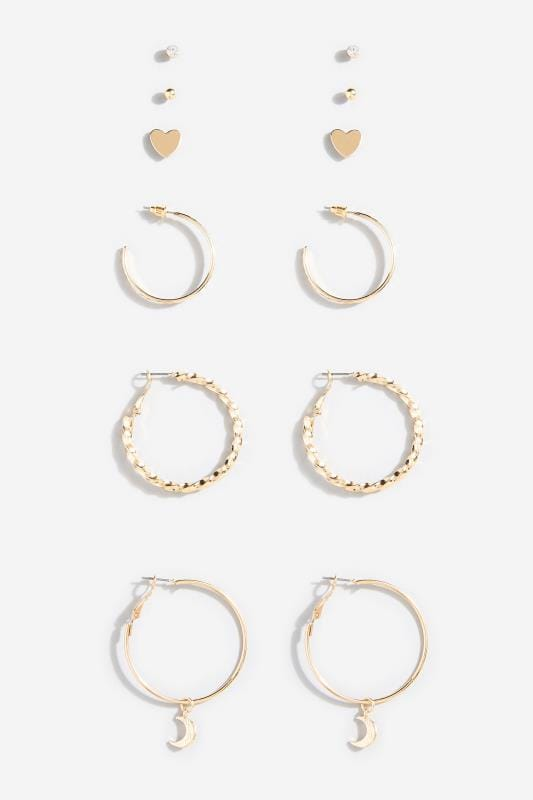 6 PACK Gold Hoop & Stud Earrings Set