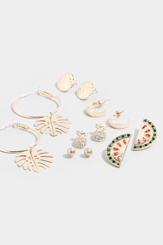 6er-Pack Ohrringe im tropischen Stil