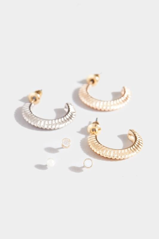 6 PACK Mixed Hoop & Stud Earrings Set