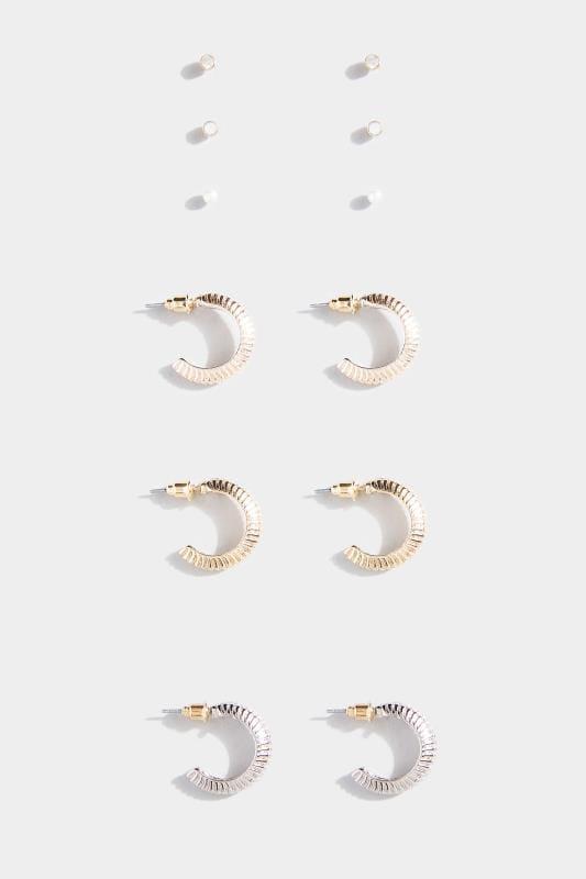 6 PACK Mixed Hoop & Stud Earrings Set
