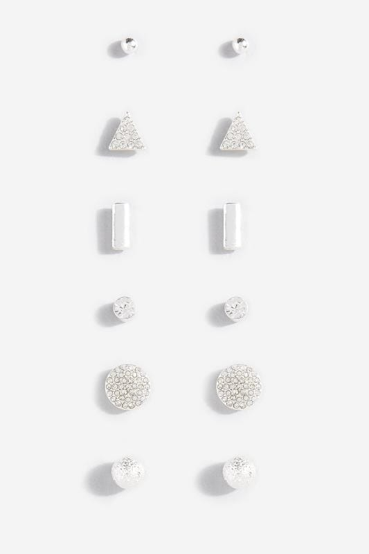 6 PACK Silver Stud Earrings