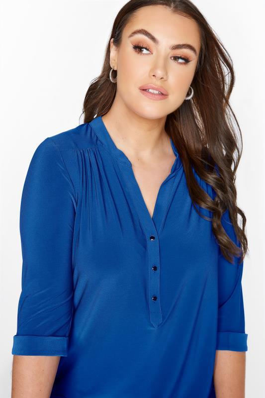 Plus Size  Cobalt Blue Slinky Jersey Shirt