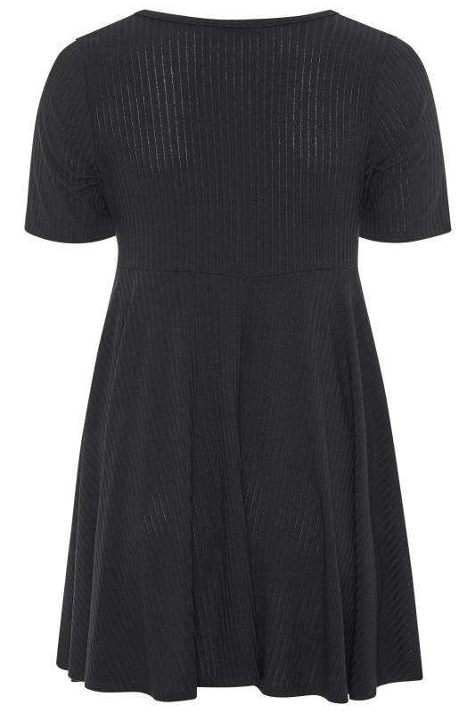 LIMITED COLLECTION Black Ribbed Ruched Skater Dress