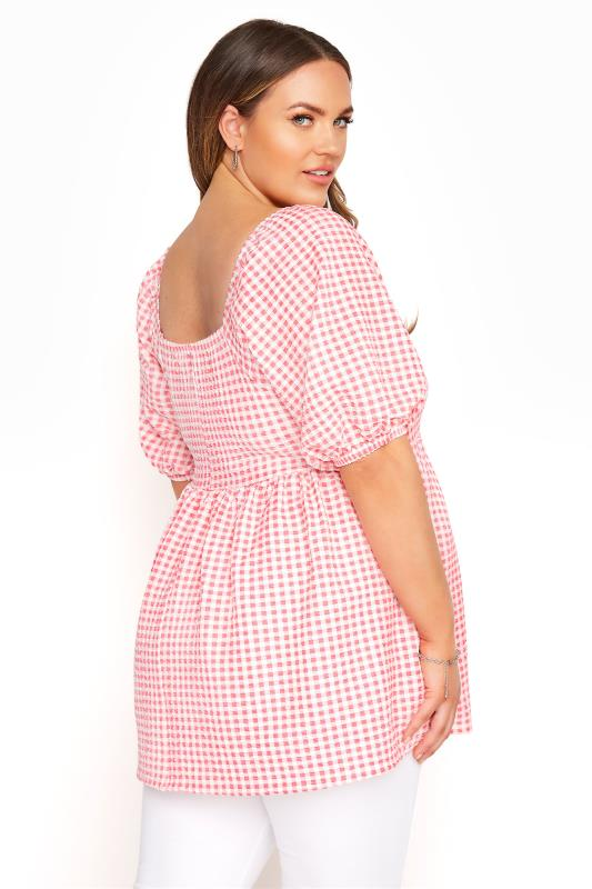 LIMITED COLLECTION Coral Pink Gingham Milkmaid Top_C.jpg